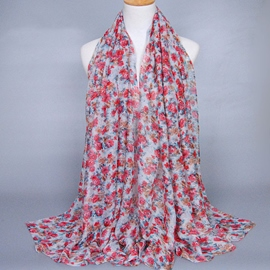 Ericdress Colorful Floral Design Women's Voile Scarf