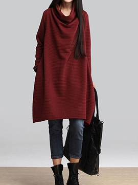 Ericdress Plain Heap Collar Loose Casual Dress