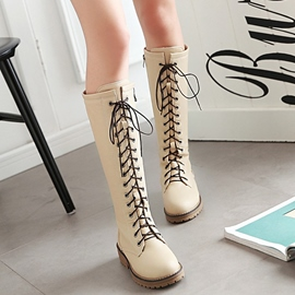 Ericdress Round Toe Lace up Front Knee High Boots