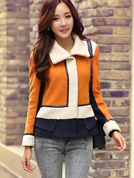 Ericdress Color Block Turn-Down Fleece Coat
