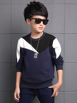Ericdress Color Block Round Neck Thickening Boys T-Shirt