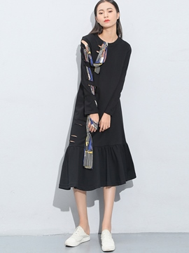 Ericdress Hole Ribbon Falbala Patchwork Casual Dress