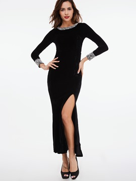 Ericdress Slash Neck Stacked Pleated Asymmetric Sheath Dress