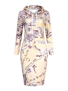 Ericdress Casual Hooded Lace-Up Print Sheath Dress