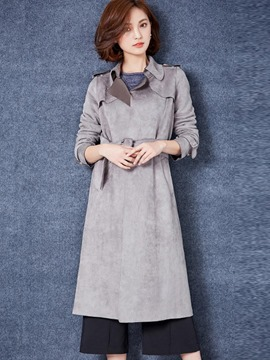 Ericdress Plain Bowknot Belt Trench Coat