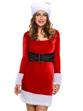 Ericdress Long Sleeve Belt-Decorated Santa Cosplay Christmas Costume