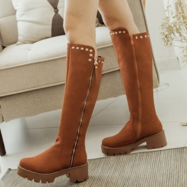 Ericdress Rivets Side Zip Knee High Boots