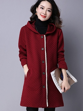 Ericdress Casual Loose Single-Breasted Hooded Trench Coat