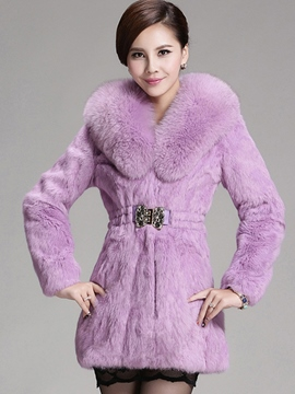 Ericdress Solid Color Slim Faux Fur Luxury Coat