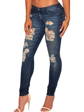 Ericdress Holes Pocket Washable Low-Waist Skinny Jeans