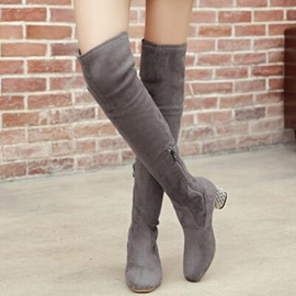 Ericdress Suede Chunky Heel Knight Boots