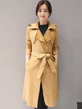 Ericdress Solid Color Polo Belt Slim Trench Coat