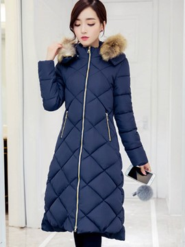 Ericdress Slim Faux Fur Collar Zipper Coat