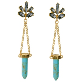 Ericdress Stone Bullet Pendant Earrings