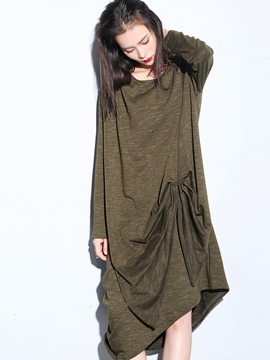 Ericdress Asymmetrical Pleated Loose Maxi Dress