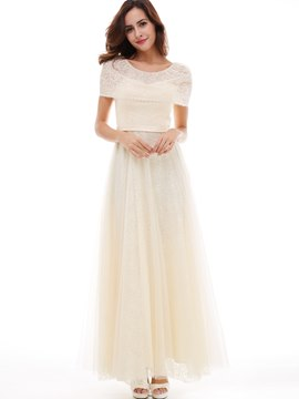 Ericdress A-Line Cape Sleeve Floor-Length Lace Long Evening Dress