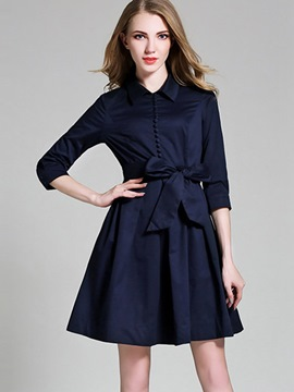 Ericdress Button Lapel Belt Pleated Casual Dress