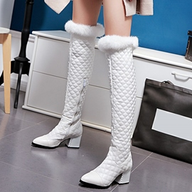 Ericdress Patchwork Point Toe Thigh High Boots