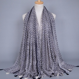 Ericdress Voile Fringed Scarf with Geometric Pattern