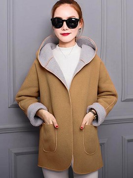 Ericdress Color Block Fleece Patchwork Coat