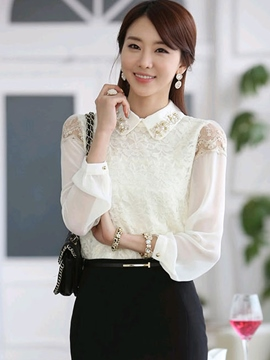Ericdress White Bead Lace Panel Blouse