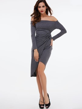 Ericdress Slash Neck Stacked Pleated Sheath Dress