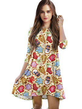 Ericdress Christmas Print Round Collar Three-Quarter Sleeve Casual Dress