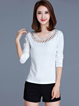 Ericdress Neckline Detail Long Sleeve T-Shirt