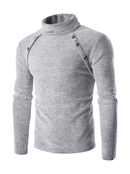 Ericdress Turtleneck Asymmertric Double-Breasted Pullover Men's Sweater