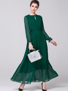 Ericdress Pleated Round Collar Hollow Falbala Patchwork Maxi Dress