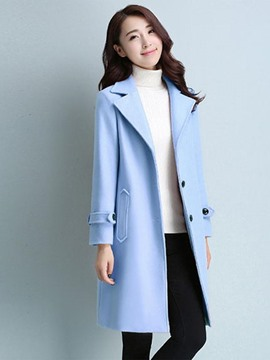 Ericdress Loose Solid Color Polo Coat