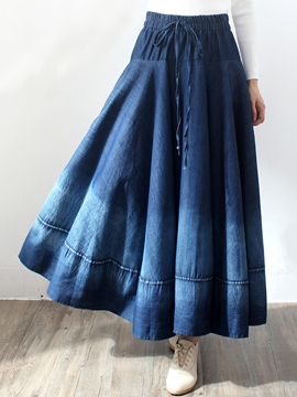 Ericdress Pleated Lace-Up Gradient Expansion Maxi Skirt