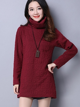 Ericdress Turdtle Neck Plain T-Shirt