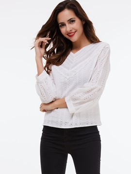 Ericdress White Hollow Back Casual Blouse