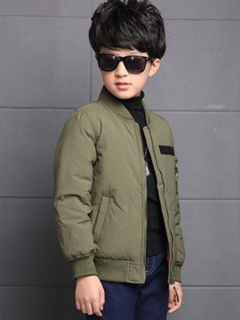 Ericdress Solid Color Zipper Boys Jacket