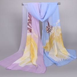Ericdress Butterfly & Flowers Printed Chiffon Scarf
