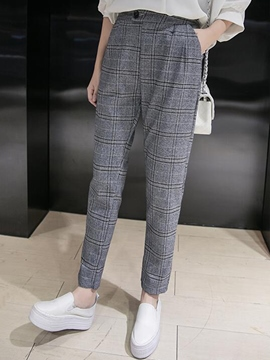 Ericdress Plaid Print Thick Pocket Harem Pants