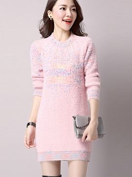 Ericdress Sweet Bead Round Collar Sweater Dress