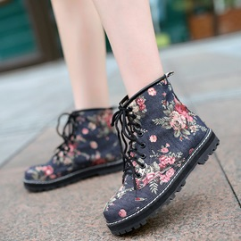 Ericdress Denim Floral Print Ankle Boots