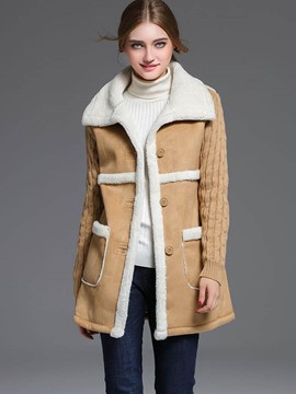 Ericdress Color Block Single-Breasted Straight Patchwork Coat