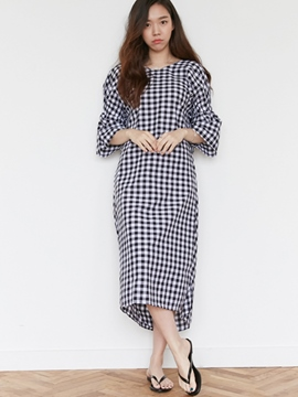 Ericdress Backless Plaid Stacked Pleated Casual Dress