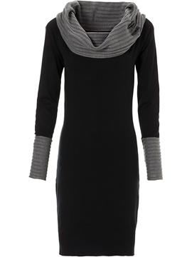 Ericdress Color Block Heap Collar Patchwork Sweater Dress
