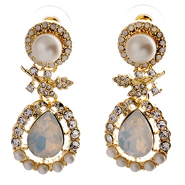 Ericdress Exquisite Pearl Rhinestone Earrings