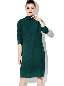 Ericdress Stand Collar Patchwork Straight Casual Dress