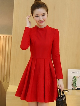 Ericdress Ruffled Collar Pleated Slim Casual Dress