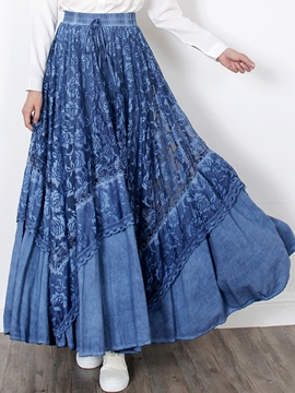 Ericdress Floral Print Pleated Hollow Lace-Up Maxi Skirt