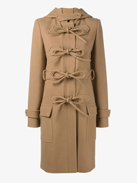 Ericdress Solid Color Straight Lace-Up Coat