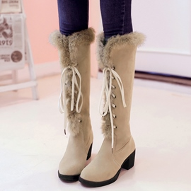 Ericdress Lace-Up Front Block Heel Knee High Boots