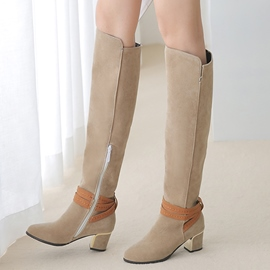 Ericdress Suede Buckles Square Heel Thigh High Boots