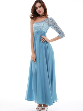 Ericdress A Line One-Shoulder Chiffon Sequins Lace Long Evening Dress